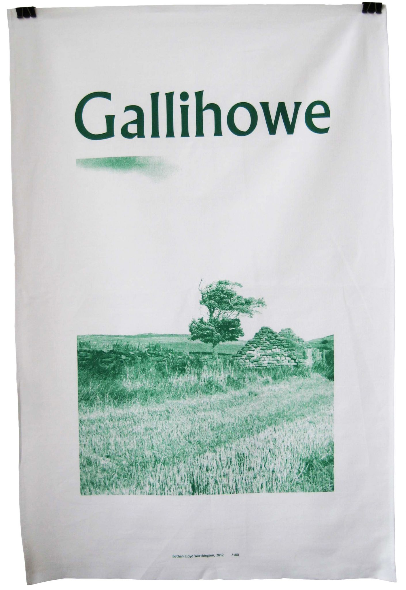 Gallihowe teatowel - Screenprinted on cotton. A souvenir of a place that no longer exists.